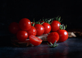 Cherry tomatoes on a dark background - PhotoDune Item for Sale