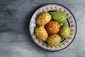 Opuntia ficus-indica, Barbary fig, cactus pear, prickly pear, Indian fig opuntia on a plate - PhotoDune Item for Sale