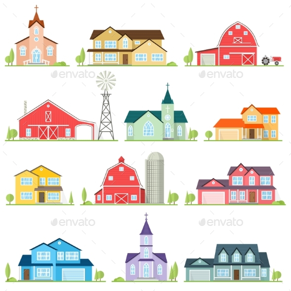 GraphicRiver Set of Vector Flat Icon Suburban American Houses 20827636