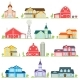 Set of Vector Flat Icon Suburban American Houses.