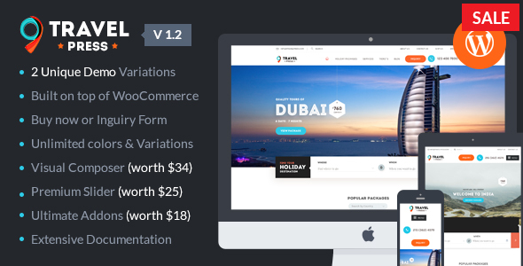 TravelPress - Tour Operator / Vacations / Travel Agency WordPress Theme
