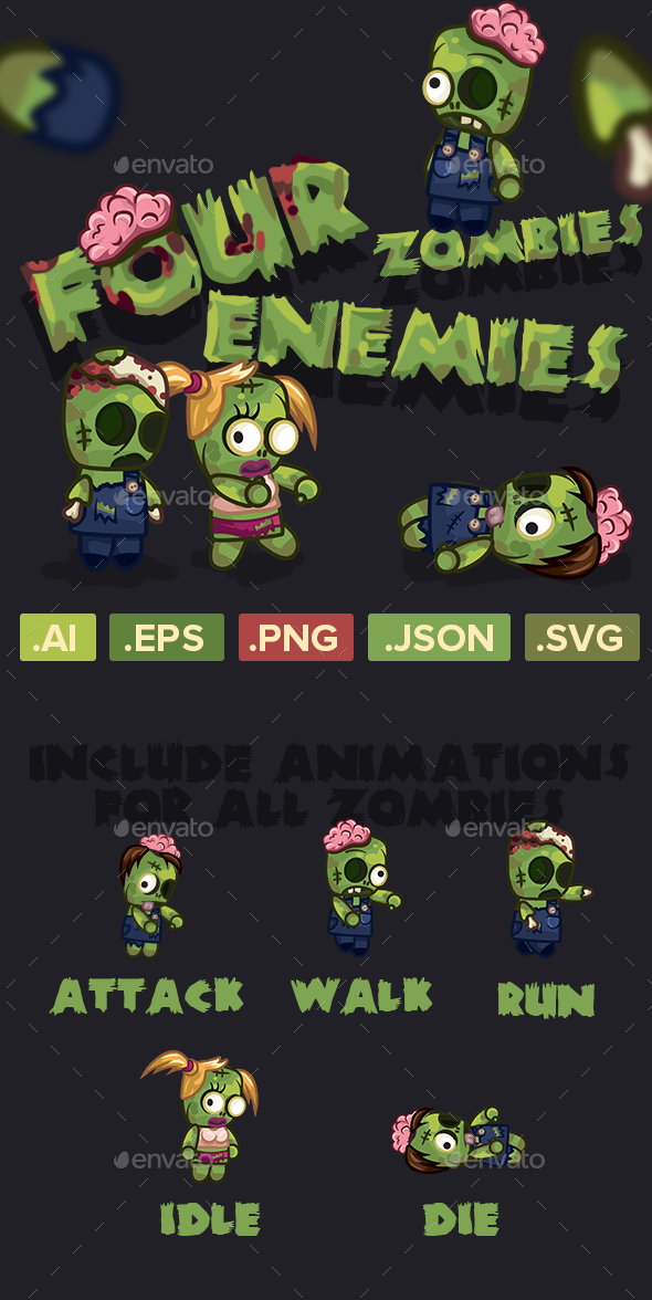 GraphicRiver Four Zombies Characters Sprite Sheets 20827856