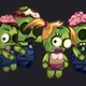 Four Zombies Characters Sprite Sheets
