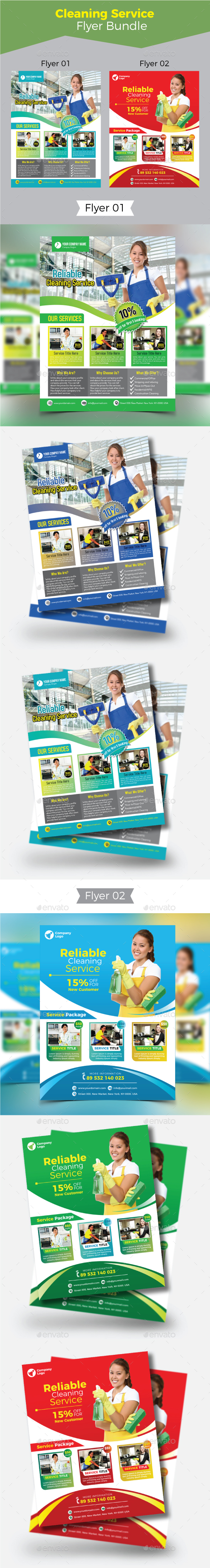 Cleaning Service Flyer Bundle - Commerce Flyers