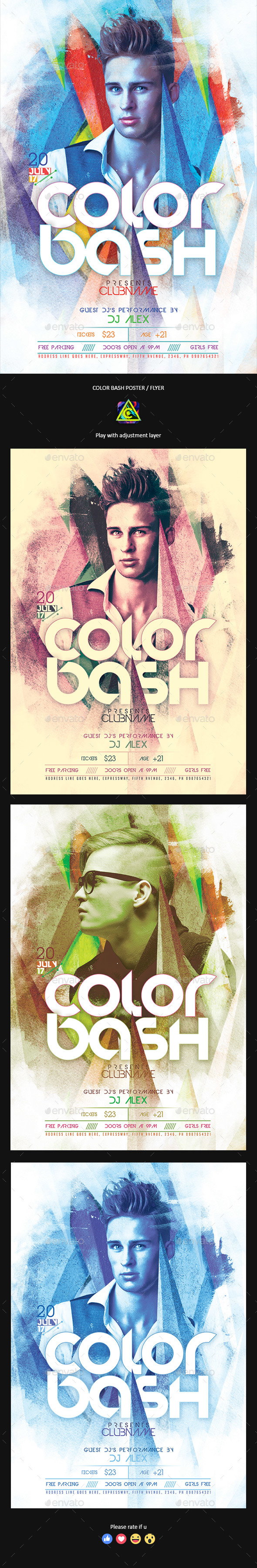 Color Bash Party Poster / Flyer - Clubs & Parties Events