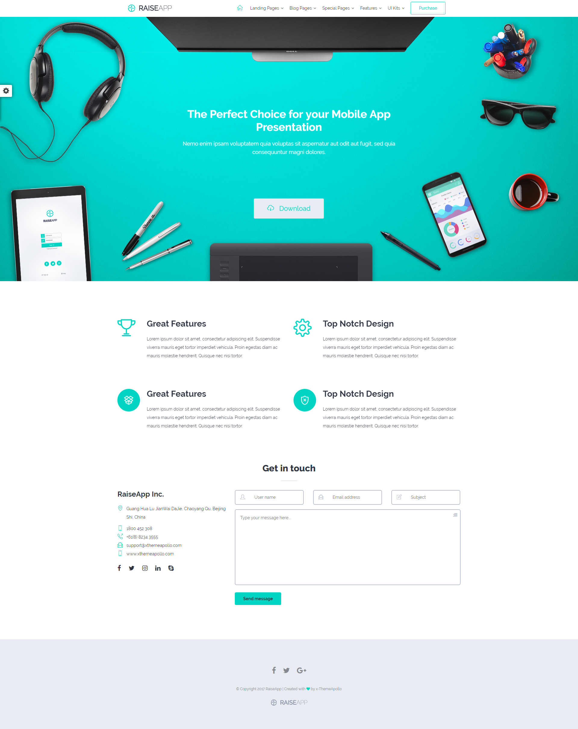 Raiseapp responsive ui kit multipurpose website template by raiseapp responsive ui kit multipurpose website template maxwellsz