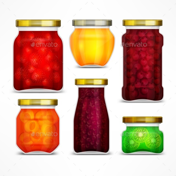 GraphicRiver Natural Fruit Jam Preserves Jars 20828377