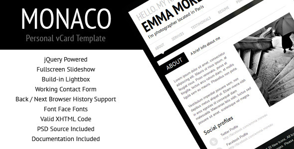 Monaco - Personal vCard Template - Personal Site Templates