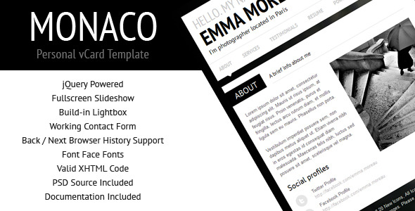 Free Download Monaco - Personal vCard Template Nulled Latest Version