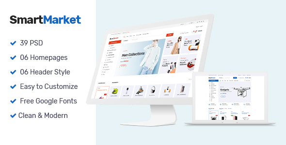 ThemeForest SmartMarket Multipurpose Electronics eCommerce PSD 20828540