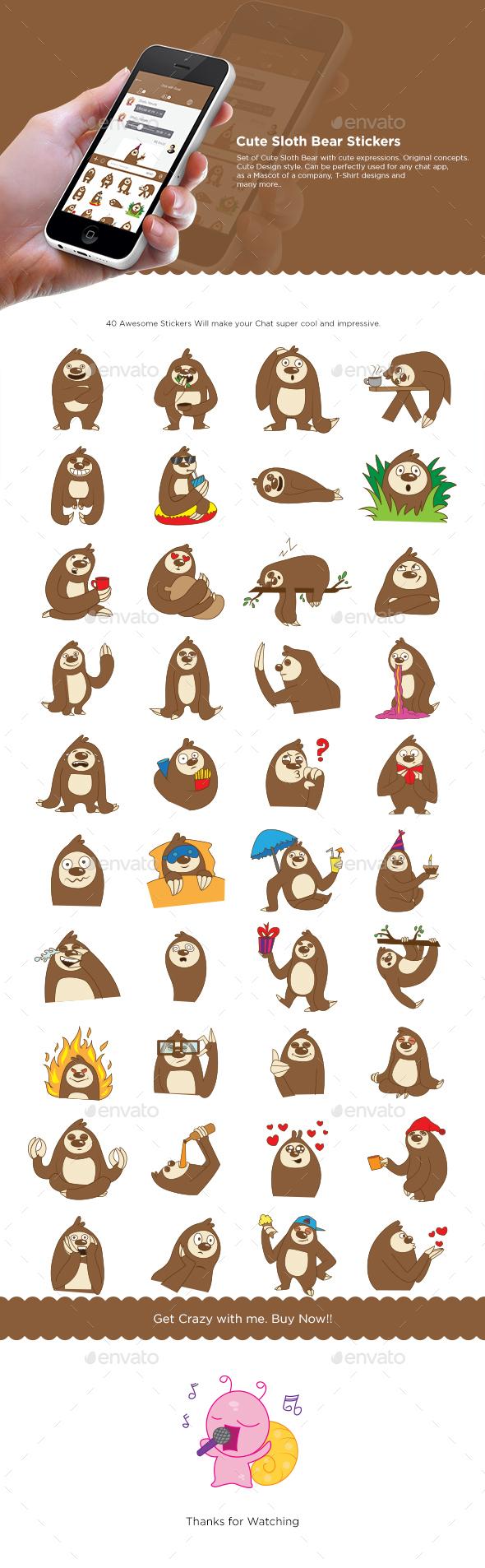 GraphicRiver Sloth Bear Set 20828648