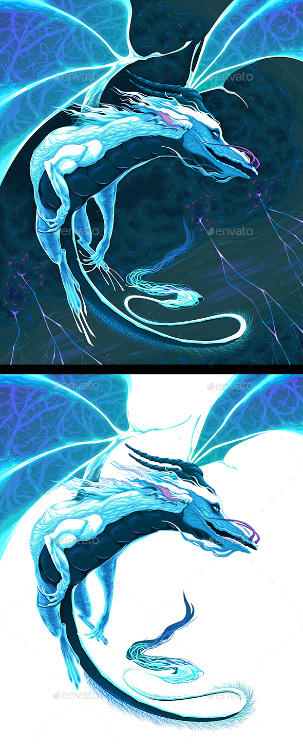 GraphicRiver White Dragon Fying in the Storm 20828751
