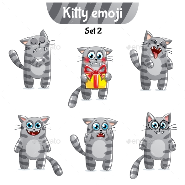 GraphicRiver Vector Set of Tabby Cat Characters Set 2 20829098
