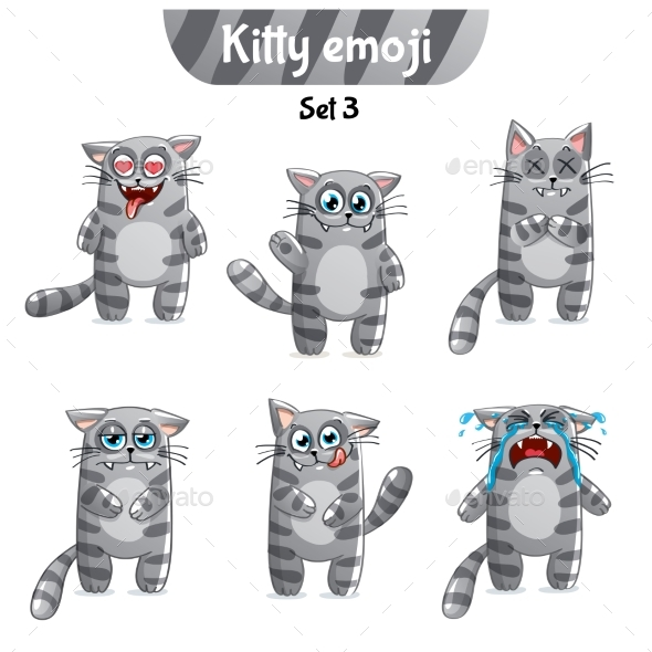 Vector Set of Tabby Cat Characters. Set 3 - Miscellaneous Vectors