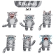 Vector Set of Tabby Cat Characters. Set 3