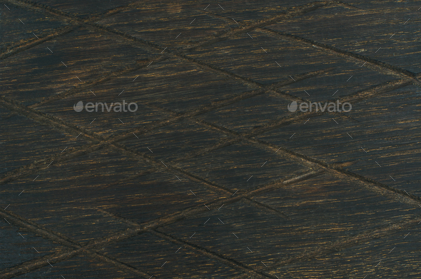 Dark toned natural oak wood texture with notches - Stock Photo - Images