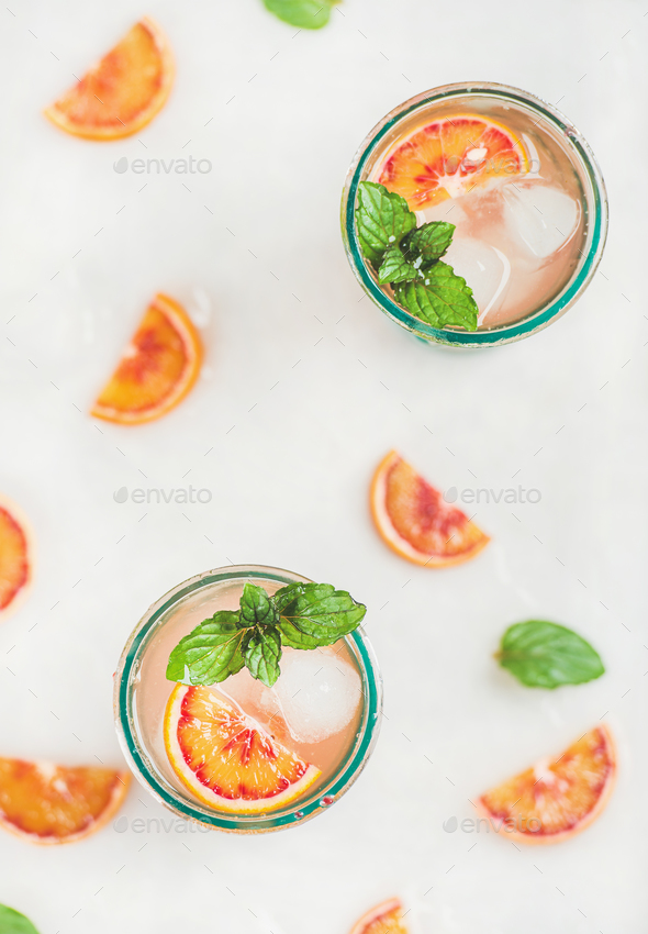 Blood orange fresh summer lemonade in glasses, top view - Stock Photo - Images