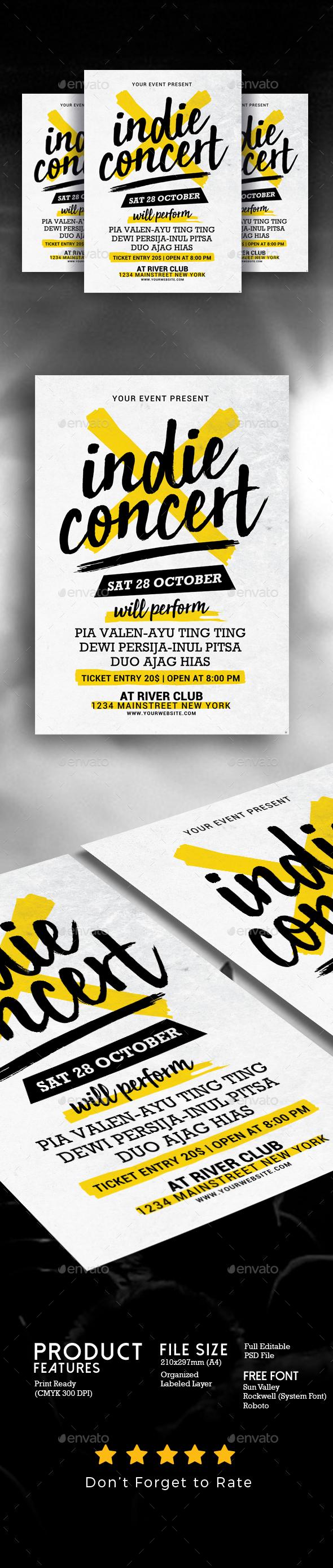 GraphicRiver Indie Concert Flyer 20829338