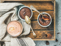 Chocolate souffle in individual baking cups and mocha coffee