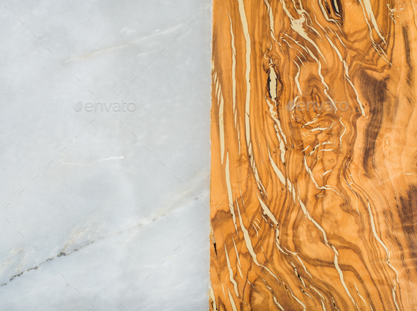 Grey marble stone and olive wood rustic combined background - Stock Photo - Images