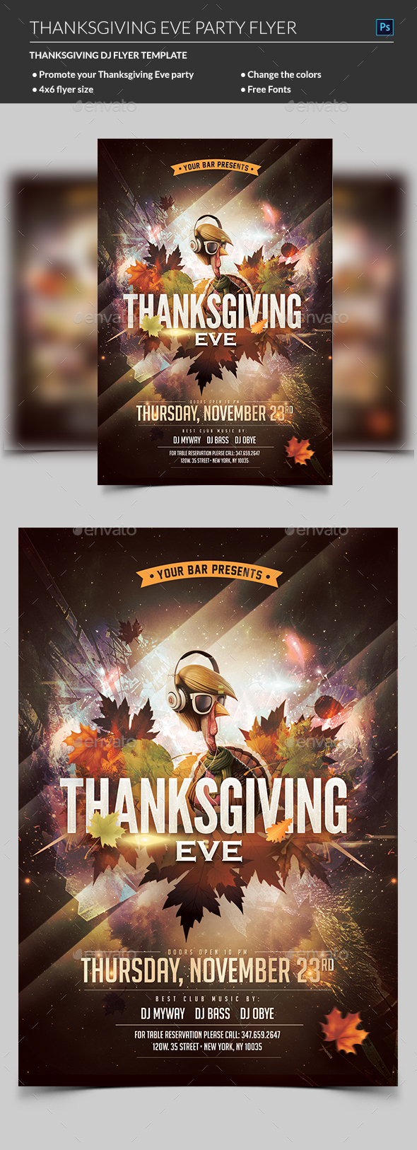 Thanksgiving Party Flyer - Clubs & Parties Events