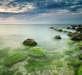 Green sea at sunrise