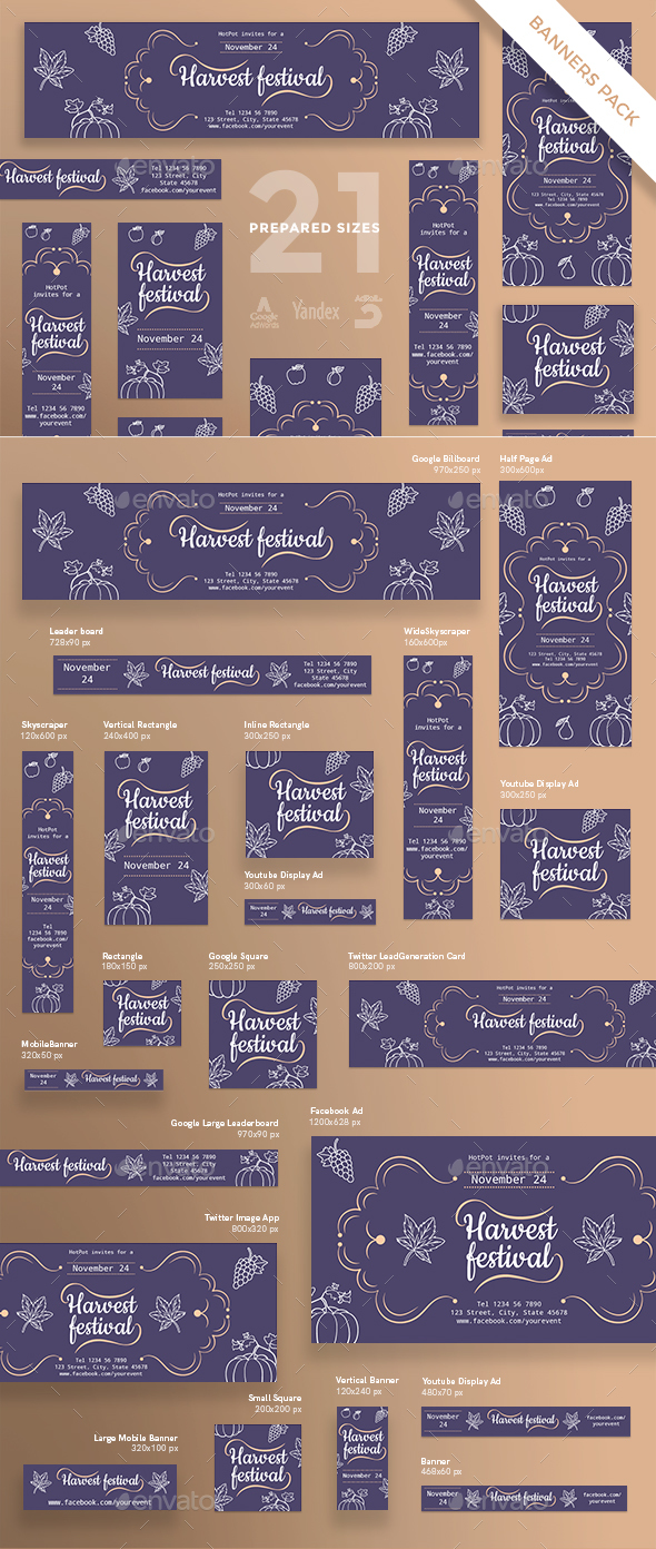 Harvest Festival Banner Pack - Banners & Ads Web Elements