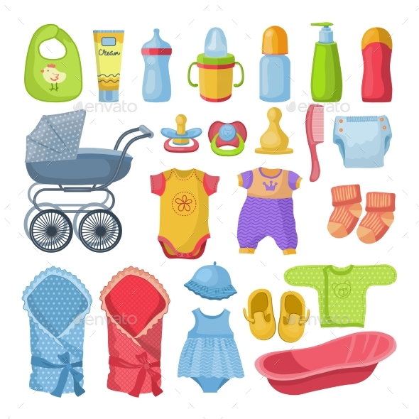 Set of Different Tools for Newborn Baby. Vector - Objects Vectors
