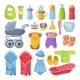 Set of Different Tools for Newborn Baby. Vector