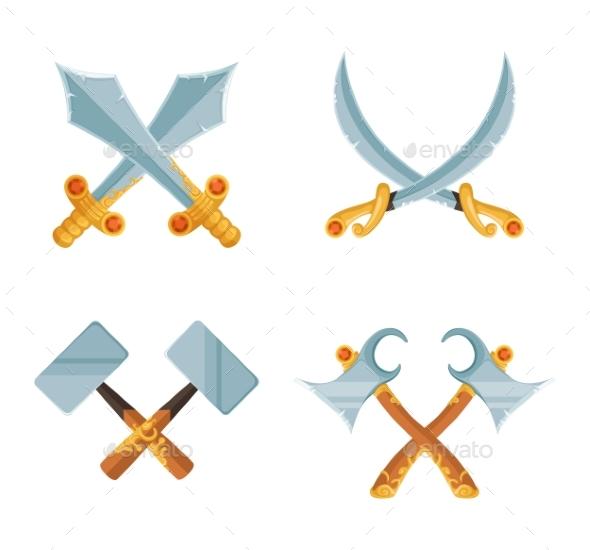 Vector Set of Cartoon Game Design Crossed Sword - Objects Vectors