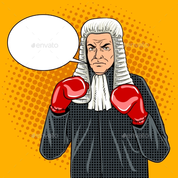 Judge with Boxing Gloves Pop Art Vector - People Characters