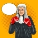 Judge with Boxing Gloves Pop Art Vector - GraphicRiver Item for Sale