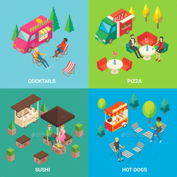 GraphicRiver Vector Street Food Concept Square Poster Set 20829688