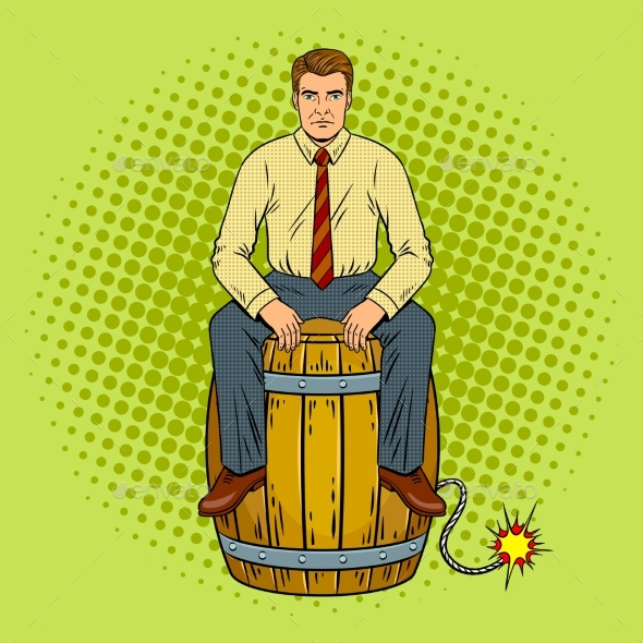 Man on Powder Keg Pop Art Vector Illustration - Objects Vectors