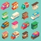 Vector Street Food Transport Isometric Icon Set