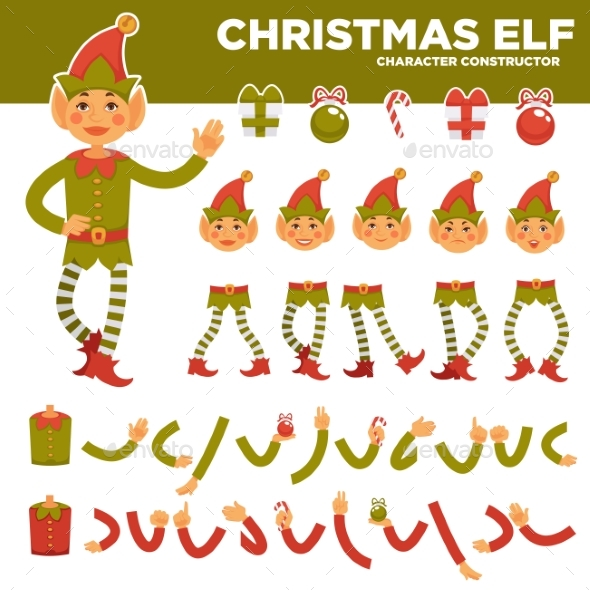 Christmas Elf Character Constructor with Body - Seasons/Holidays Conceptual