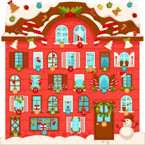 Christmas House with Numbered Advent Calendar - Christmas Seasons/Holidays