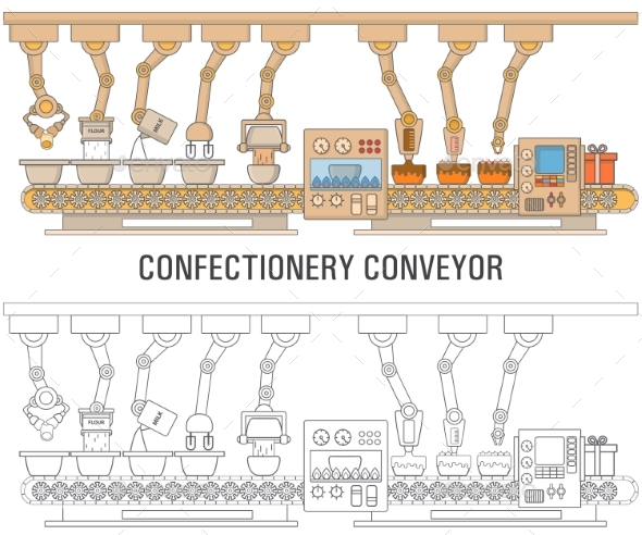 Cake Printing Machine Concept Vector Illustration - Food Objects