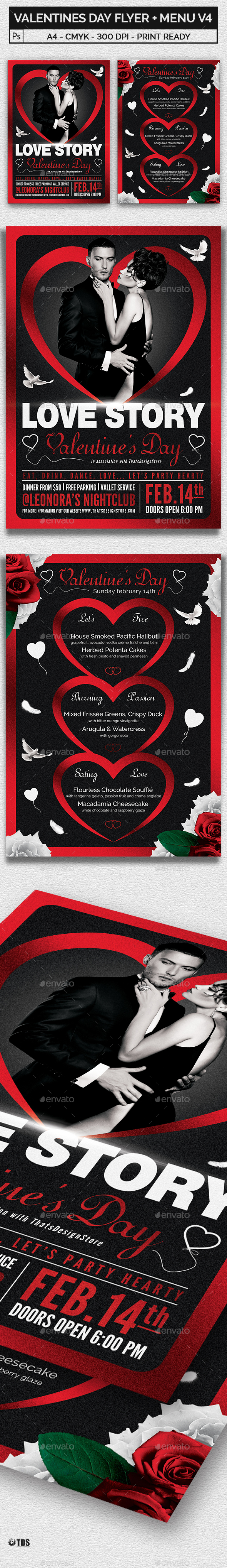 Valentines Day Flyer + Menu Bundle V4 - Holidays Events