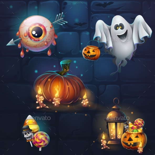 Set of Different Items for Game User Interface - Halloween Seasons/Holidays