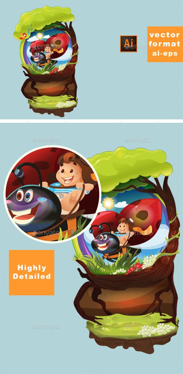 GraphicRiver Ladybug and Kid 20816034