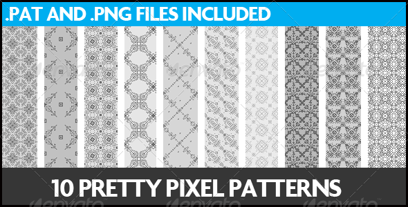 10 Pretty Pixel Patterns - Miscellaneous Textures / Fills / Patterns