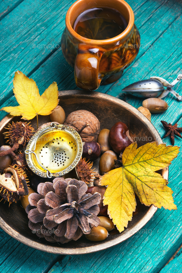 Herbal Autumn Tea - Stock Photo - Images