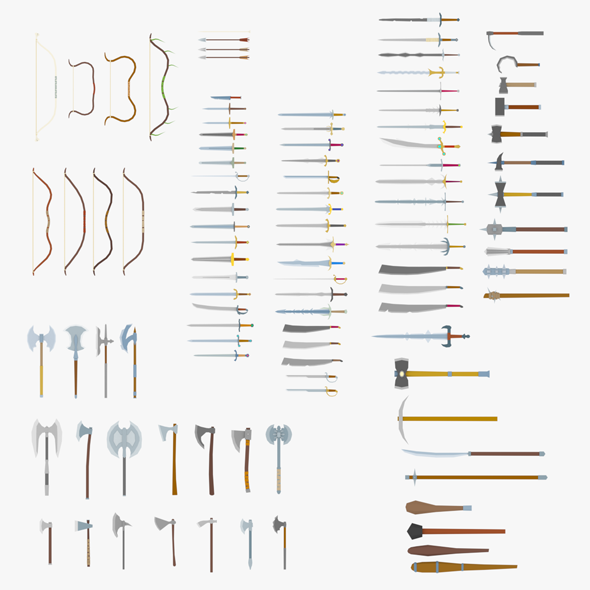 LowPoly Medieval Weapons Pack - 3DOcean Item for Sale