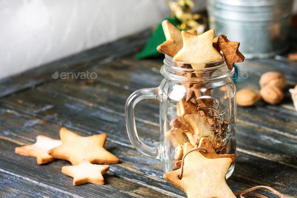 Christmas star shape sugar cookies - Stock Photo - Images