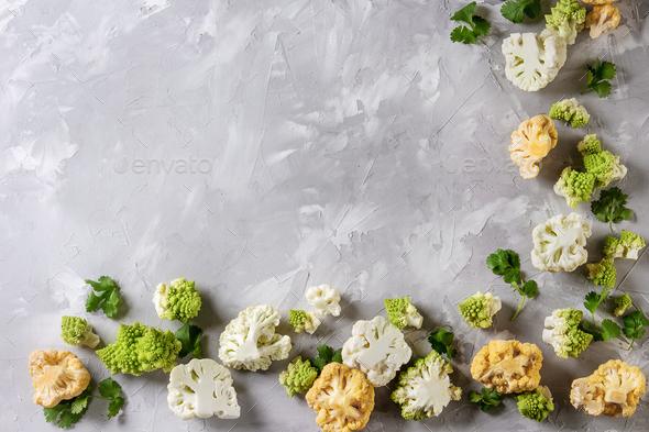 Variety of cauliflower and radish - Stock Photo - Images