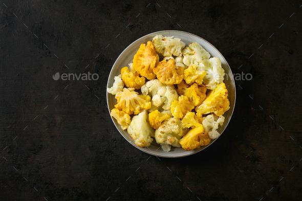 White and yellow cauliflower gratin - Stock Photo - Images