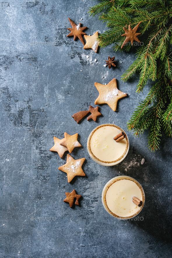 Eggnog Christmas cocktail - Stock Photo - Images