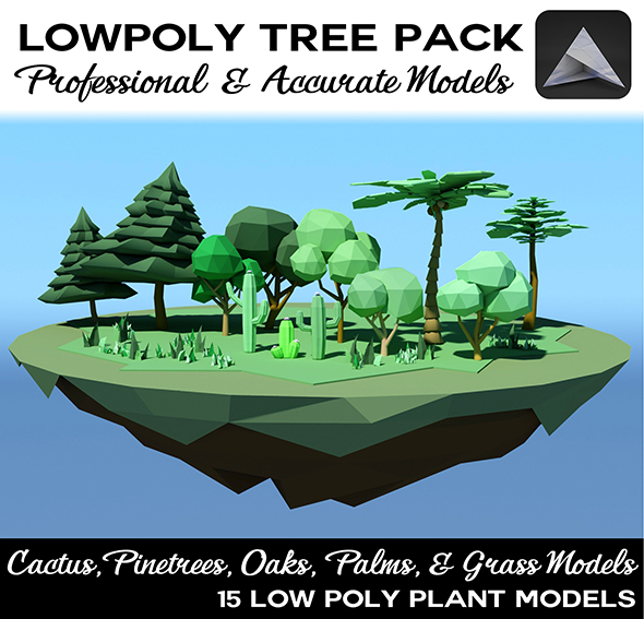 3DOcean 15 Low Poly Trees Pack 20830347