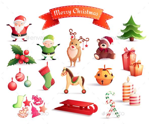Christmas Cartoon Icons Set - Christmas Seasons/Holidays